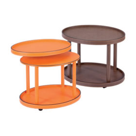 Polo leather side table